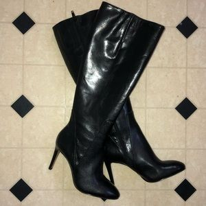 Shiny Black Leather Boots